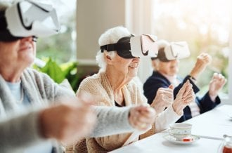 Group of seniors learn how to interact with virtual reality