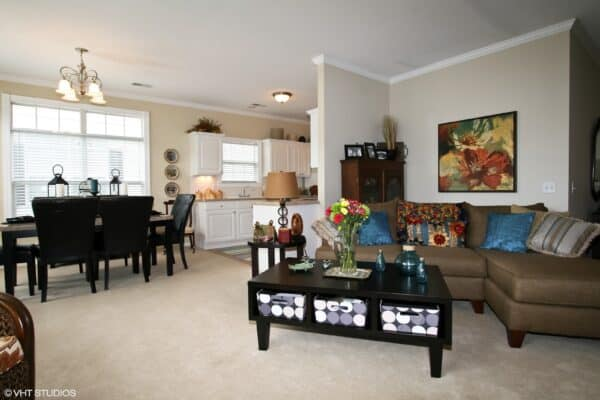 Living room and kitchen in a senior apartment at a senior living community in St. Joseph, Missouri.