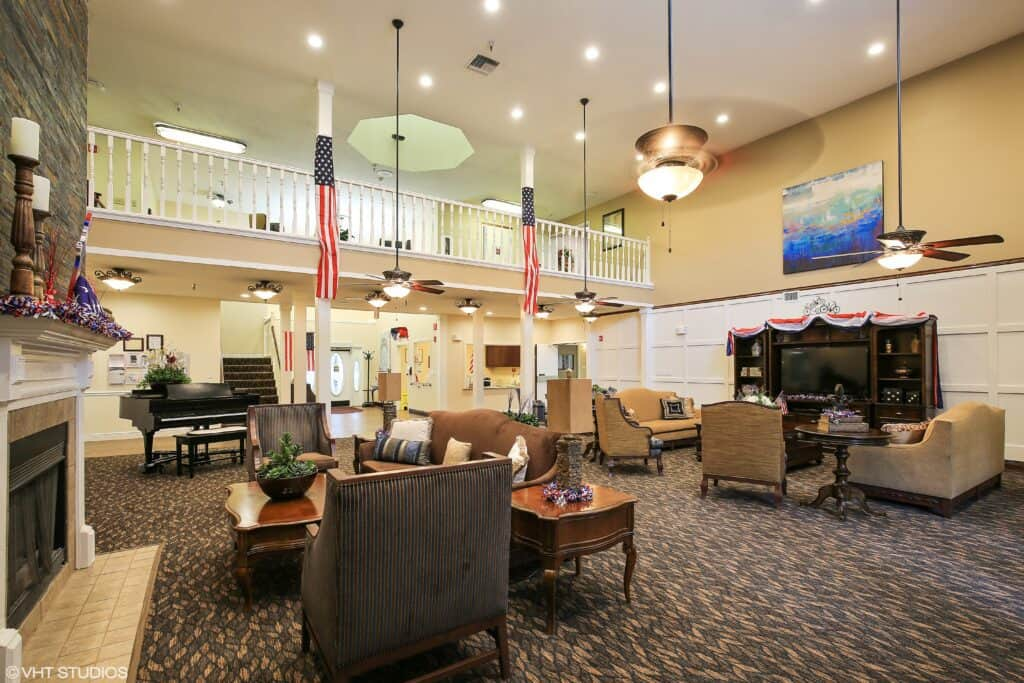 lobby and front entrance at the waterford at carpenter\'s creek senior living community in pensacola, florida