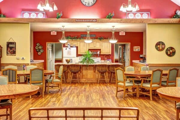 West Bend senior living community has a shared dining area and activity center in West Bend, Wisconsin.