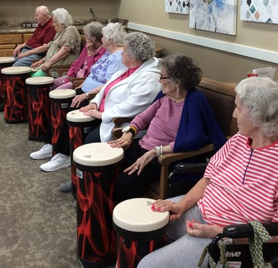 Seniors taking a bongo class in Anderson, Indiana.