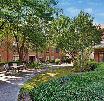 Courtyard at Olde Raleigh senior living community in Raleigh, North Carolina.
