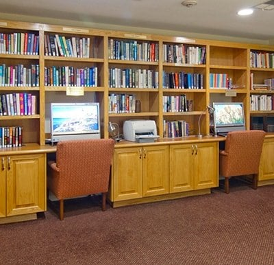 Unwind and relax in our library or check email on one of our two computer stations.