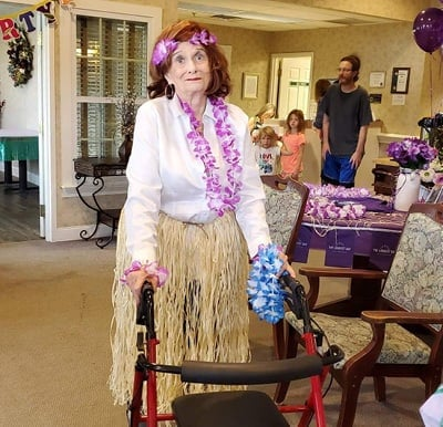 A resident dressed up for a paradise-themed party in Columbiana, Ohio.