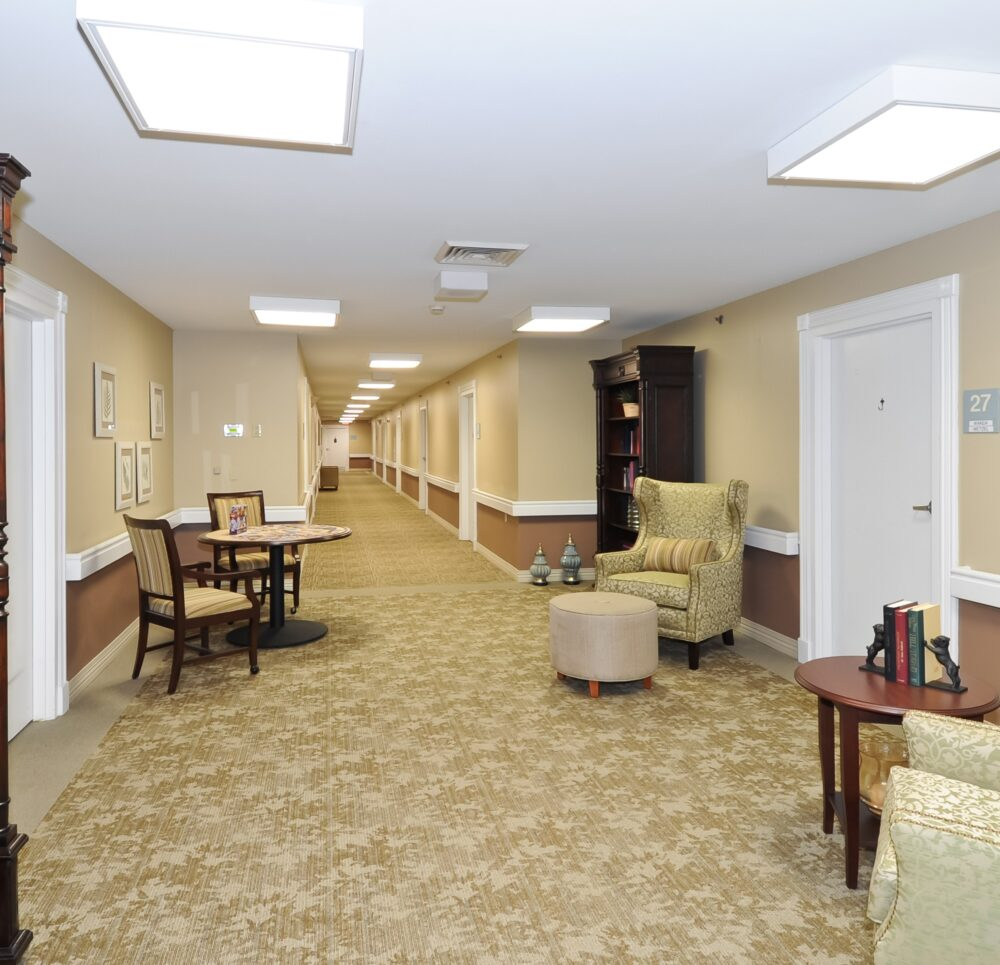 Hallway with seats at a senior living community in Indianapolis, Indiana.