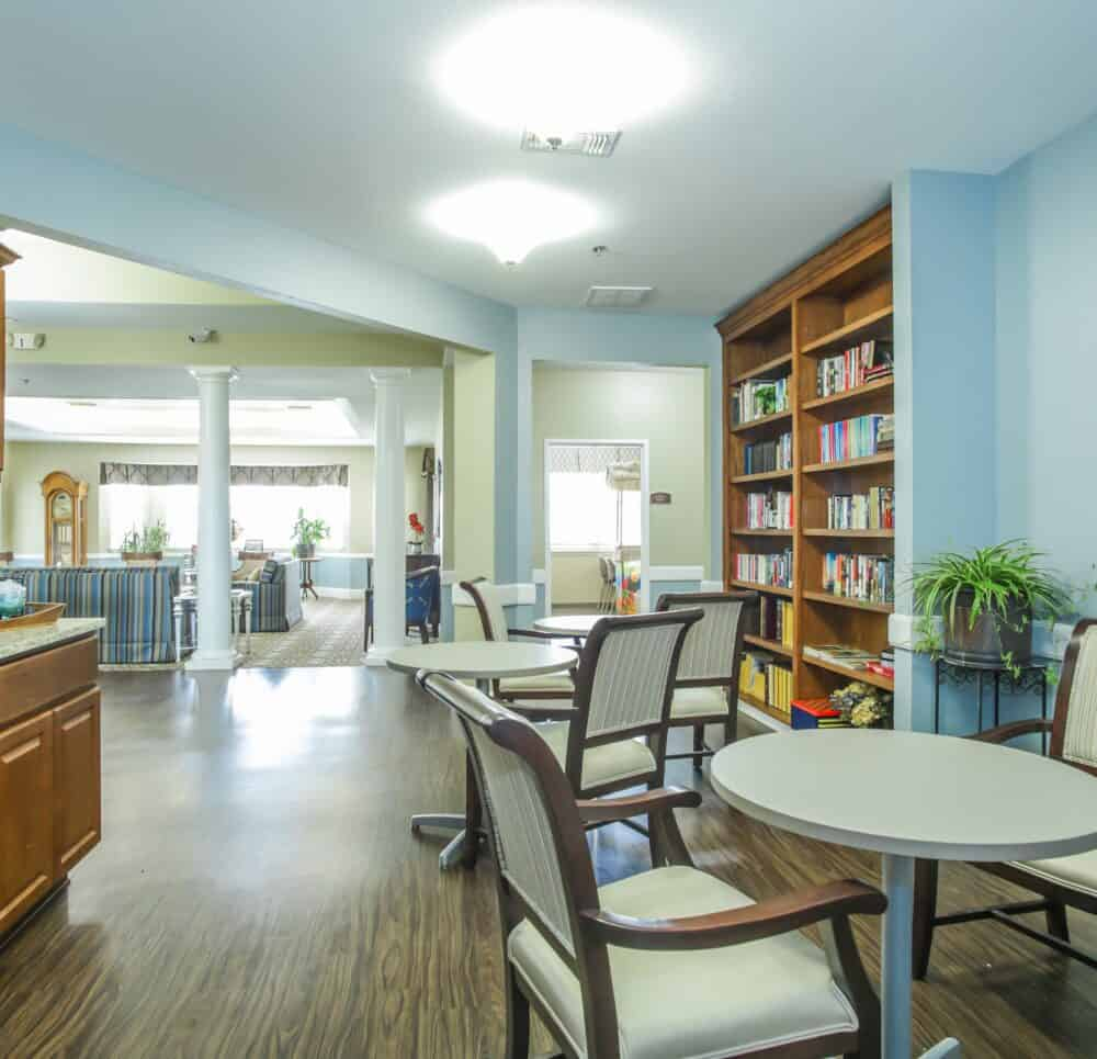 Lobby eating area at Whitley Place in Keller, Texas.