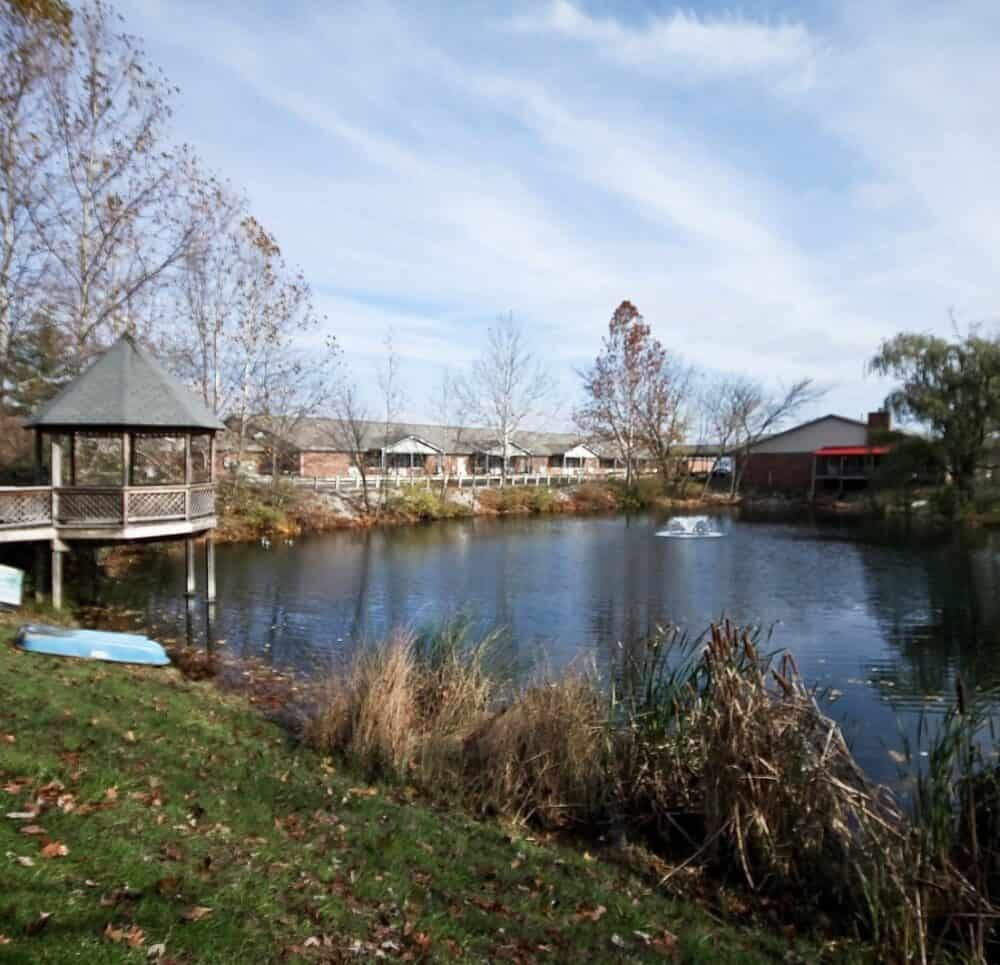 overlook of the lake at country charm senior living in greenwood, indiana