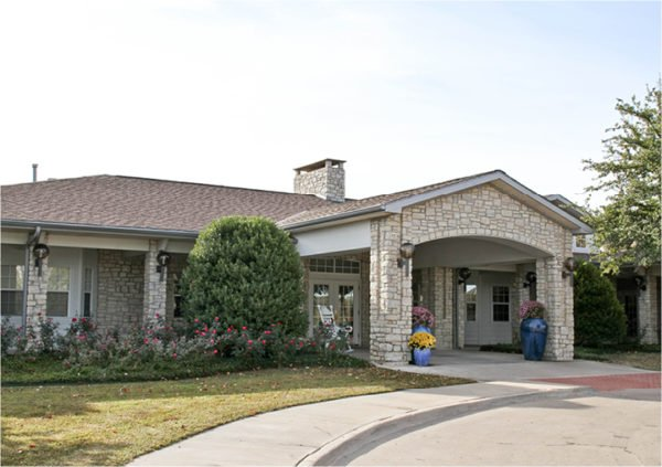 Front entrance of a senior living facility in Stephenville, Texas.