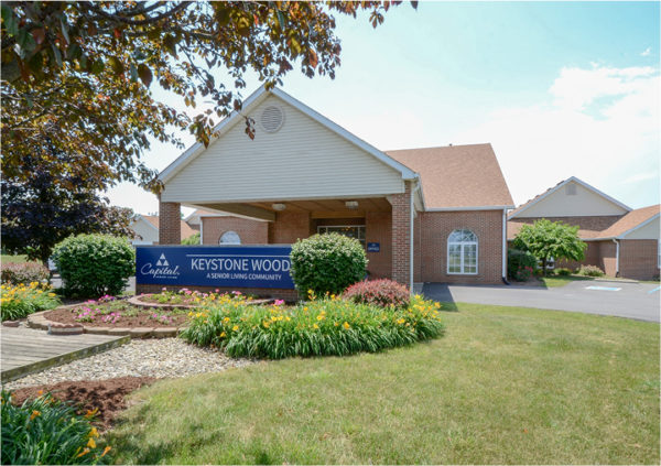 Front entrance of a senior living facility in Anderson, Indiana.
