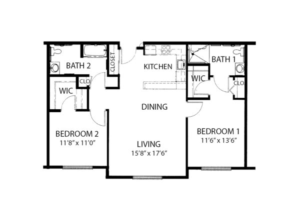 Two-bedroom apartment floorplan with living room, two bathrooms and kitchen at a senior living facility in Cottonwood, Arizona.