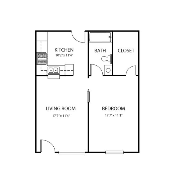One-bedroom apartment floorplan with living room, bathroom and kitchen at a senior living community in Greenwood, Indiana.
