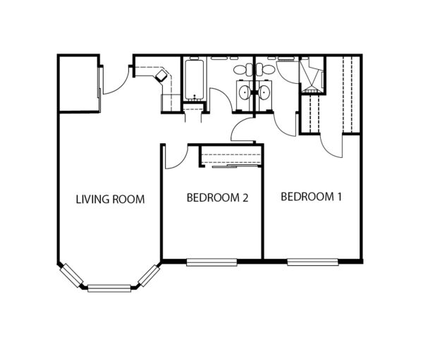 Two-bedroom apartment floorplan with living room, two bathrooms and kitchen at a senior living community in Omaha, Nebraska.