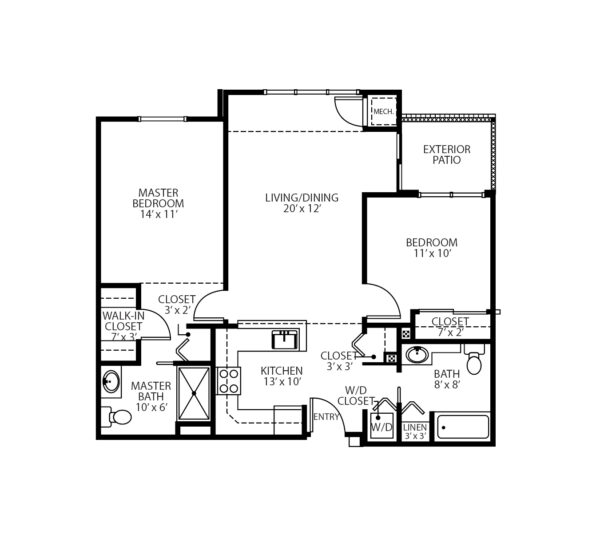Two-bedroom apartment floorplan with living room, two bathrooms, kitchen, patio and closets at a senior living community in Oneonta, New York.