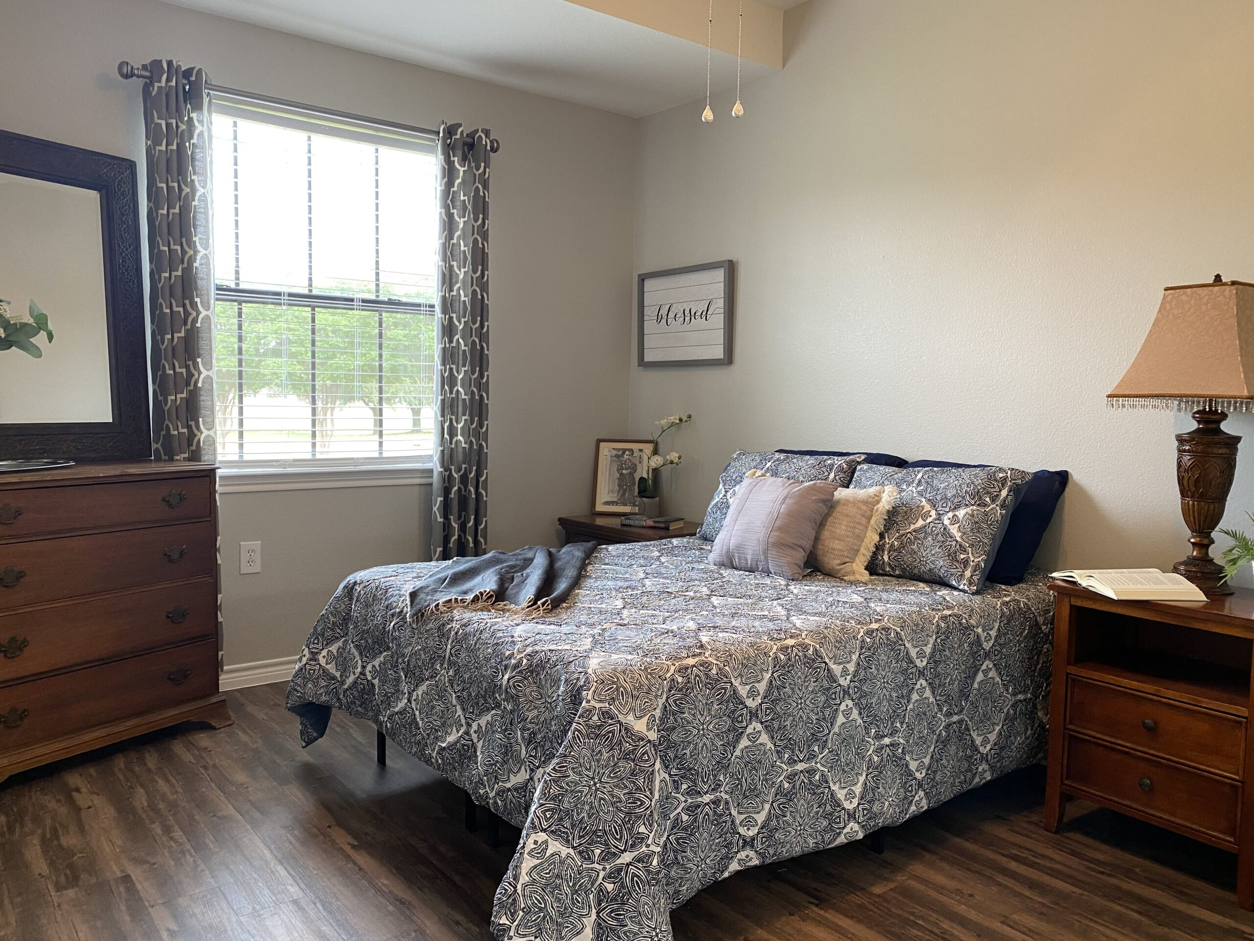 model apartment at the courtyards at lake granbury, a senior community in texas