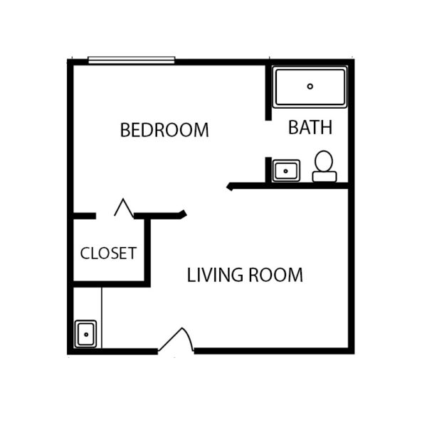 One-bedroom apartment floorplan with living room, bathroom and large closet at a senior living community in Jeffersonville, Indiana.