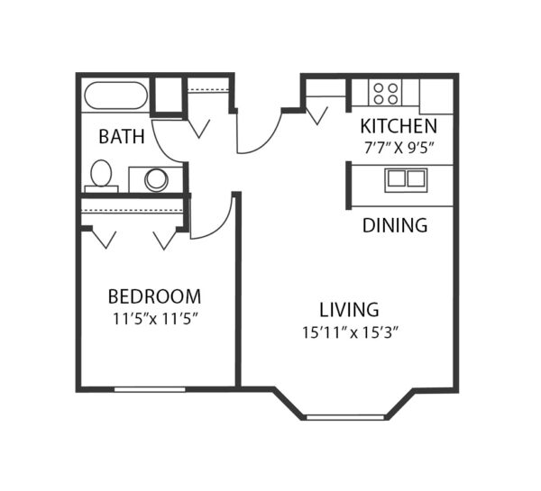 One-bedroom apartment floorplan with living room, bathroom and kitchen at a senior living community in Maple Grove, Minnesota.