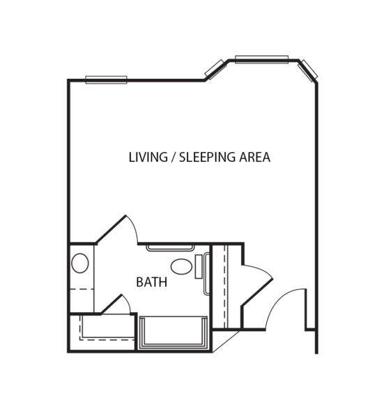 Studio apartment floorplan with bathroom and walk-in closet at a senior living community in Humble, Texas.