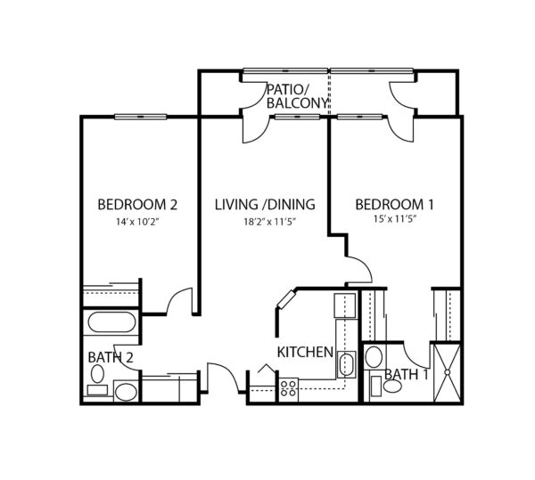 Two-bedroom apartment floorplan with living room, two bathrooms, kitchen and patio at a senior living community in Williamsville, New York.