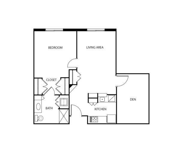 Two-bedroom apartment floorplan with living room, bathroom and kitchen at a senior living community in Irving, Texas.