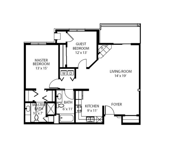 Two-bedroom apartment floorplan with living room, two bathrooms, kitchen and in-unit washer and dryer at a senior living community in Fitchburg, Wisconsin.