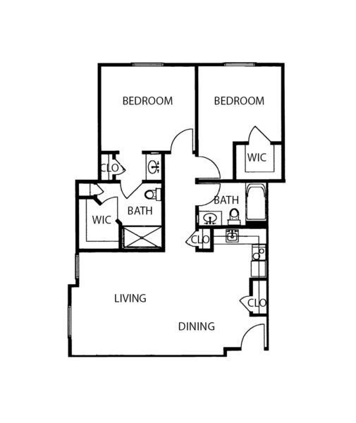 Two-bedroom apartment with living room, two bathrooms and kitchen at a senior living community in Springfield, Missouri.