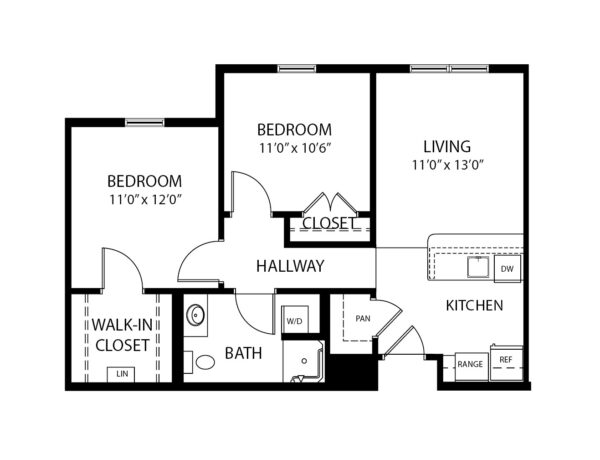 Two-bedroom apartment floorplan with living room, bathroom, in-unit washer/dryer and kitchen at a senior living community in Perrysburg, Ohio.