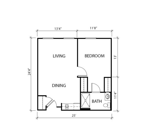 One-bedroom apartment floorplan with living room, bathroom and kitchenette at a senior living community in Plano, Texas.