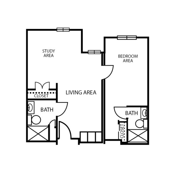 One-bedroom apartment with living room, two bathrooms and walk-in closets at senior living community in Arlington, Texas.