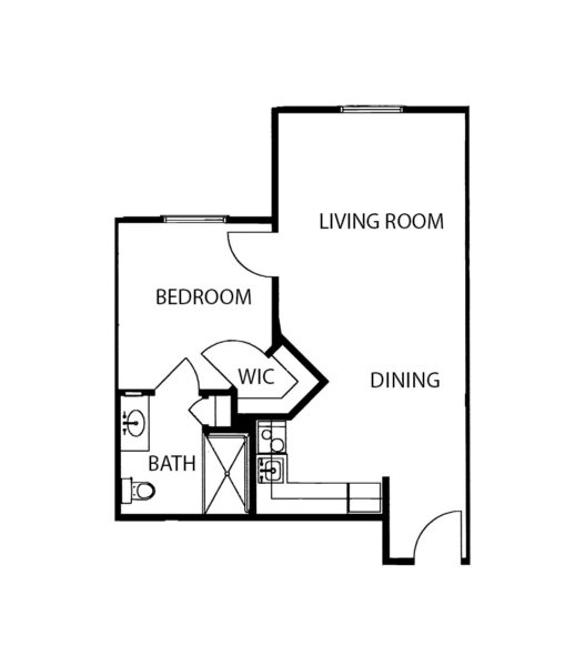 One-bedroom apartment with living room, bathroom and kitchen at a senior living facility in Ridgeland, Mississippi.