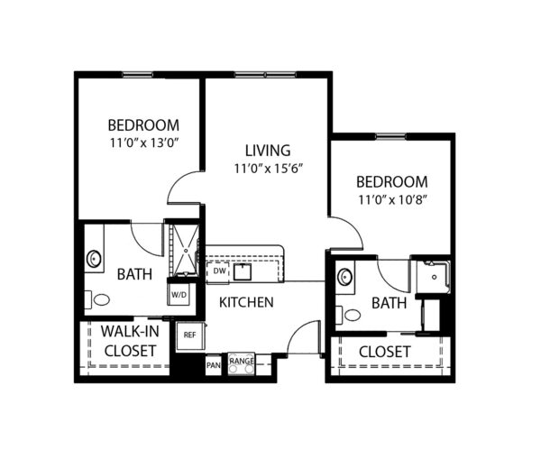 Two-bedroom apartment floorplan with living room, two bathrooms and kitchen at a senior living community in Dayton, Ohio.