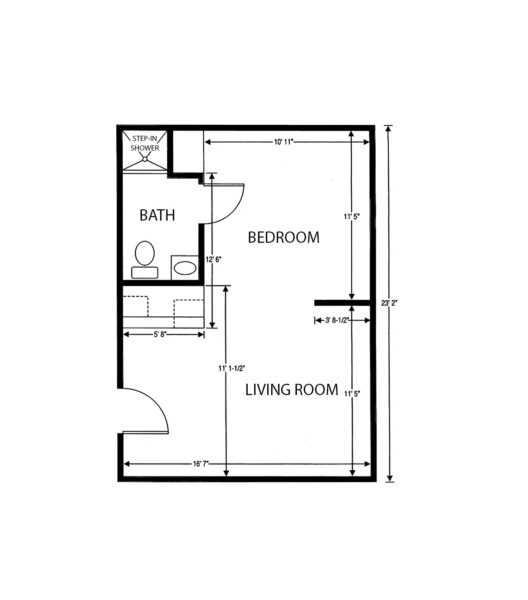 One-bedroom apartment floorplan with living room, bathroom and large closet at a senior living facility in Columbus, Ohio.