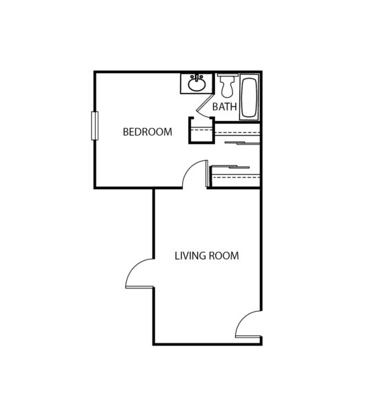 One-bedroom apartment with living room, bathroom and large closet at a senior living facility in Santa Barbara, California.