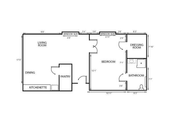 One-bedroom apartment floorplan with living room, bathroom and kitchenette at a senior living community in St. Joseph, Missouri.