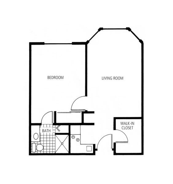 One-bedroom apartment floorplan with living room, bathroom and kitchenette at a senior living community in Hot Springs, Arkansas.