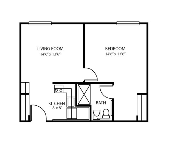 One-bedroom apartment floorplan with living room, bathroom and kitchen at a senior living community in Columbiana, Ohio.