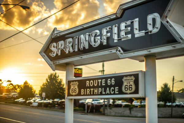 Sunset in Springfield, Missouri, the birthplace of Route 66.