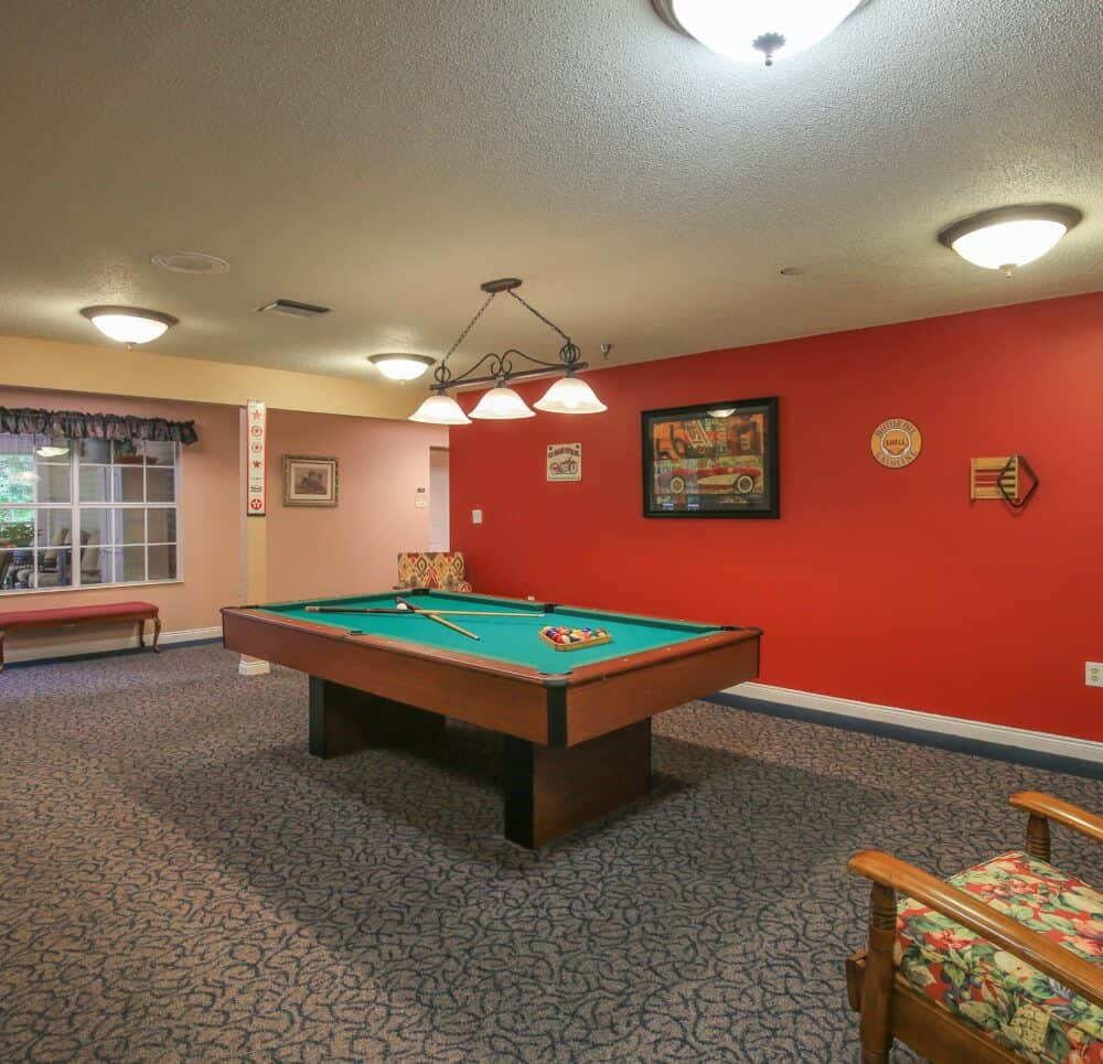 Billiards table in an activity room at a senior living community in Pensacola, Florida.