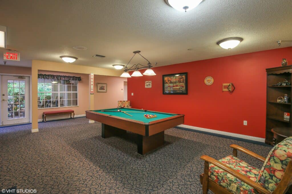 billiards table at the waterford at carpenter\'s creek senior living community in pensacola, florida