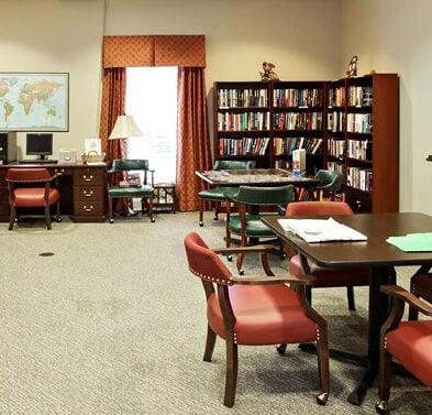 Senior living community library in Richardson, Texas