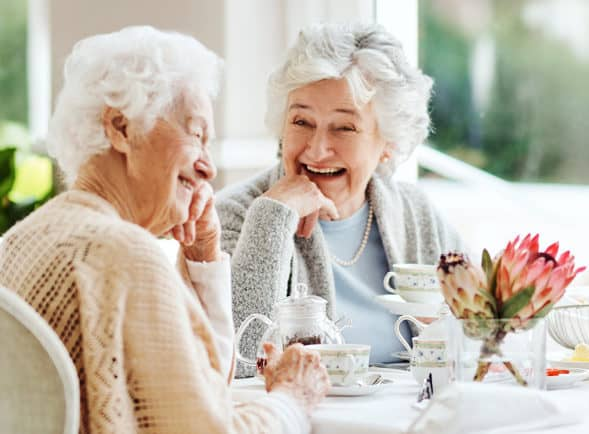 Two friends laughing over tea in an elegant dining room setting.