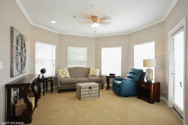 Model independent living apartment at a senior living community in Mesquite, Texas.