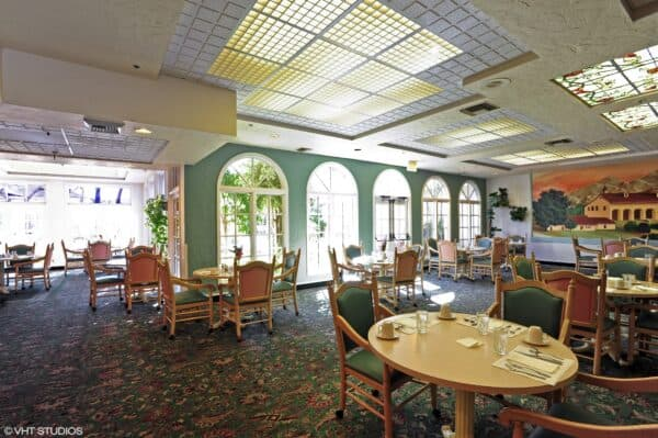 Dining room at the Villa Santa Barbara, a senior living community in Santa Barbara, California.