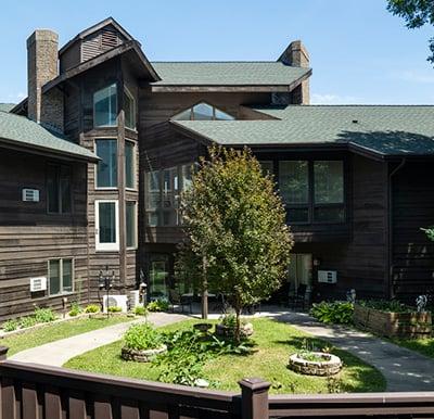 Courtyard at a senior living community.