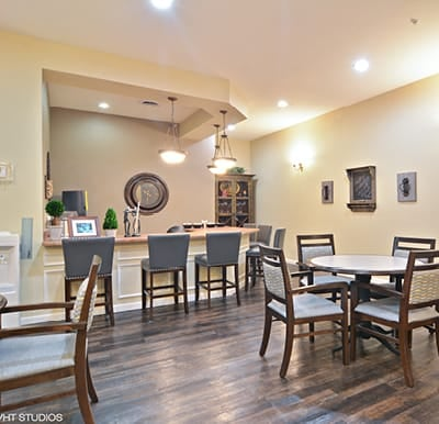 A coffee shop and bar in a senior living community.
