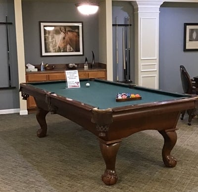 A billiards table set up for a game.