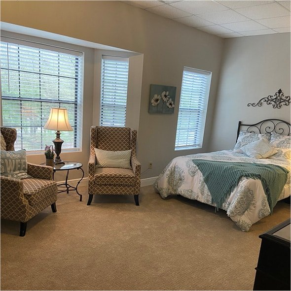 A model apartment showing a spacious living and sleeping area in Humble, Texas.