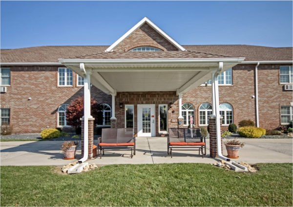 Front entrance of a senior living facility in Batesville, Indiana.
