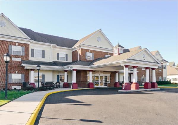 Front entrance of a senior living facility in Virginia Beach, Virginia.