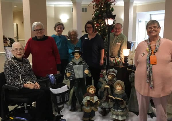 Senior citizens at a holiday event at their senior living community in North Richland Hills, Texas.