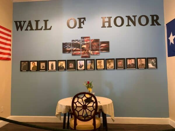 Veterans Wall of Honor at the Waterford at Plano in Plano, Texas.